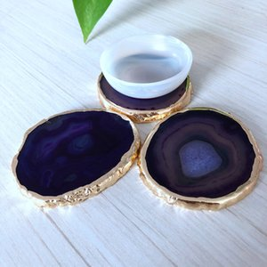 Natural Agate Geode Slice adiabatic Cup Mat Crystal Plate Jade Carnelian Coaster gilt lace Mineral Specimen Home Decoration Gift 622 S2