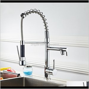 Faucets All Copper Kitchen Stainless Steel 360 Rotatable Extension Type Double Outlet Spring Faucet Can Adjust Hose Length M8B0U Objwy