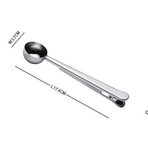 Stainless Steel Ground Coffee Measuring Scoop Spoons With Bag Seal Clip Black Gold Silver Color Ice Cream Spoon DHD6153