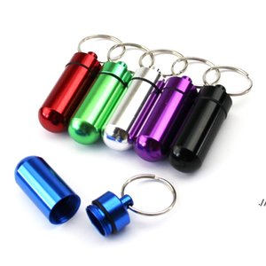 Waterproof Aluminum Pill Box Case with Keychain Tablet Storage Box Bottle Case Holder Drop Shipping Avaiable DWF6280