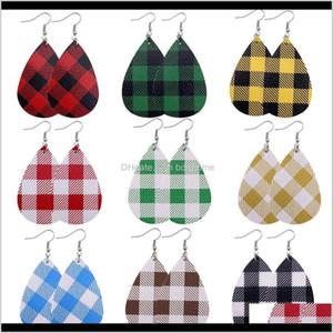 Chandelier 1Pair Christmas Lattice Style Pu Faux Leather Fashion Teardrop Drop Dangle Earrings Women Light Weight Ear Jewelry 4M 5Erv8