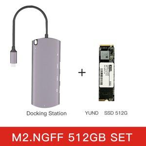 Portable type C Hard Drive enclosure M.2 NGFF Hub docking station USB 3.0 HD-Compatible RJ45