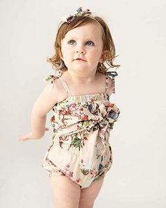 Baby Designer Bowknot Romper cute Girls floral printed Jumpsuit summer Lovely Infant Onesie newborn bow suspenders climb clothes V484