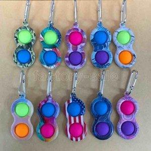 US stock Metal Clip Simple Dimple Key Ring Silicone Push Bubble Toy Keychain Pop it Fidget Sensory Toys UA Flags Camo Borde