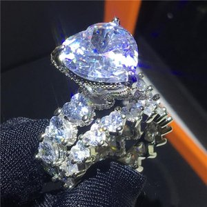 Cluster Rings Vintage Heart Shape 925 Sterling Silver Ring Sets 8ct Cz Stone Engagement Wedding Band For Women Men Fine Jewelry