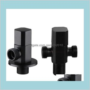 Angle Valves Faucets, Showers & Accs Home Garden Brass Black Valve For Kitchen Bathroom Toilet Cold And Water Stop Drop Delivery 2021