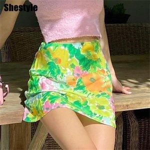 Shestyle Spring Flower Women Skirts Prairie Style A-Line High Waist Side Zip Floral Printed Green Sweet Summer Mini Bottom
