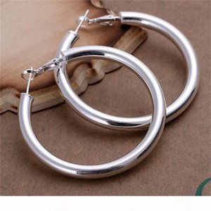 Wholesale 925 sterling Silver Plated Earring,Round Circle Wedding Jewelry Accessories,Fashion 5mm Hollow Silver Earrings For Women