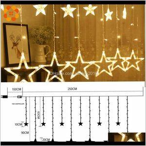 Christmas Decorations 1Set 3 Styles Ramadan Starmoon Ac 220V Led Garland Curtain String Lights Eid Mubarak Decoration Wedding Birthday 3Ybwc