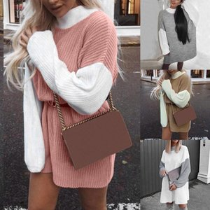 Women Sweaters Dress Knitted Patchwork Winter Sweater Women Lady Jumper Autumn Pullover New Female Blusas Mujer De Moda 20191