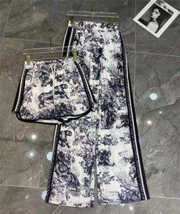 Kadın Parça Pantolon Moda Stil Bahar Sonbahar Sokak Için Gevşek Bayan Capris Dipleri Mektuplar Baskılı Yan Kaplan Desen Throuse Pantolon Kazak Yüksek Kalite