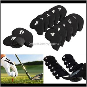 Heads 10Pcs Club Covers Iron Putter Protective Head Cover Headcovers Set Neoprene Black Sports Golf Accessory 18Gbj Lqnlc