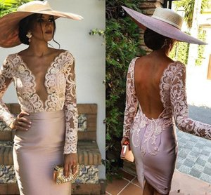 Deep V Neck Sexy Cocktail Party Dresses 2021 with Long Sleeves Lace Applique Backless Club Wear Short Prom Evening Gowns