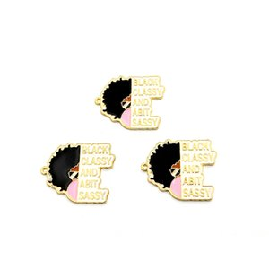 10pcs Black Girl charms for women DIY jewelry accessories BGR051-BGR052