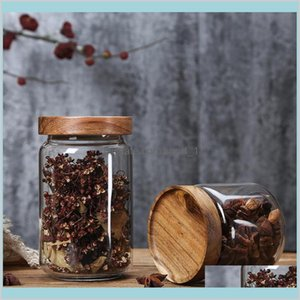 Storage Bottles & Jars Home Organization Housekeeping Home Garden Food Glass Jar Sealed Cans With Cover Large Capacity Tampion Cereals
