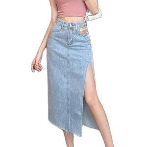 Skirts Fashion Women's Denim Skirt 2021 Spring Summer High Waist Side Split Thin A-line Package Hip