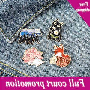 Cartoon fox polar bear hedgehog Brooch flower kitten badge light proof button personalized clothing pin