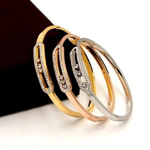 Elegant Fashion Diamond Three Mobile Stone Support Bracelet Cool All-match Super Shiny Full Bangle