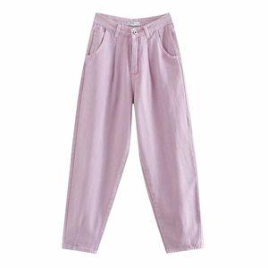 BLSQR Women Streetwear plisado cintura alta suelta Slouchy jeans 2021 otoño casual damas pantalones de mezclilla