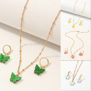 Butterfly Pendant Necklaces And Earrings Set For Women Girls Fashion Pink Gold Necklace Elegant Choker Fashion Sweet Jewelry Sets Gift 16 W2