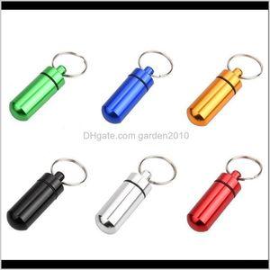 Bottles & Jars Aluminum Waterproof Bottle Holder Container Keychain Key Chain Pill Box Jar Storage 48Mm*17Mm Stash Wb3359 Setre Hviia