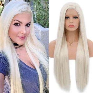 الكاريزما الشعر مقاومة للحرارة اللون 60 البلاتين شقراء الاصطناعية الدانتيل الجبهة الباروكة للنساء طويل مستقيم الرباط الباروكات مع شعر الطفل