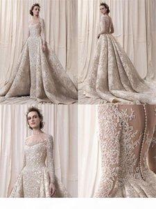 Luxury Champagne Crystal Beaded Lomg Sleevee Mermaid Wedding Dresses Vintage Plus Size Saudi Arabic Dubai Bridal Gown