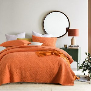 Comforters & Sets Quality Bedspreads Cotton Quilt Set 3pcs Embroidered Quilts Orange Bed Cover King Queen Size Coverlet Summer Blanket CHAUS