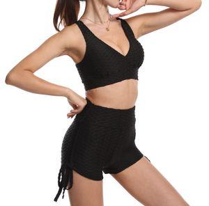 Bra Set Hot Yoga Pants High Waist Peach Hip Tight Sports Fitness Jacquard Bubble Shorts Suit
