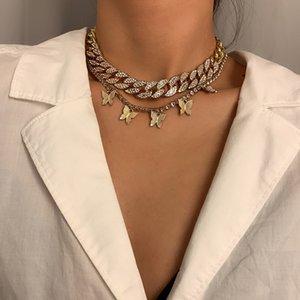 Pendentifs de papillon multicouches Tassel Couker Colliers Restauration Anciennes manières Cuba Chaîne De Diamant Mode Bijoux Femmes Cadeaux de vacances