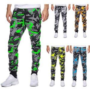 Дизайнеры мужская одежда мужская брюки повседневная камуфляж середины талии высокие эластичные напечатанные бегать брюки жесткой подгонки
