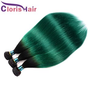 Pre-Colored Green Ombre Raw Virgin Indian Straight Weft Bundles Two Tone 1B Turquoise Human Hair Weave 3pcs Exquisite Sew In Extensions On Sale