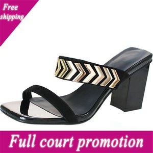 Flip Floop High Slippers Tellal de verano Desgaste Frosted Black 2019 Zapatos de mujer Sandalias
