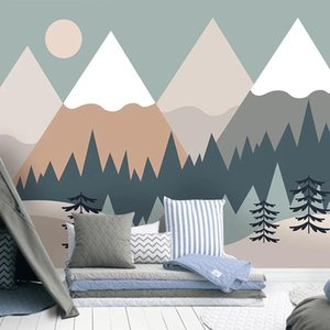 Custom 3D Self Adhesive Wallpaper Hand Painted Tree Mountain Cartoon Children Room Bedroom Background Modern Mural Waterproof Wallpapers