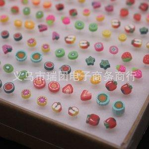 Stupini per orecchini di forma della frutta sveglia per le ragazze dell'orecchino dell'argilla del polimero del lotto misto delle ragazze 100 coppie all'ingrosso 620 T2