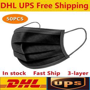 DHL-schwarze Einweg-Gesichtsmasken 3-Layer-Schutz mit Holousinen-Mund-Sanitär im Freien