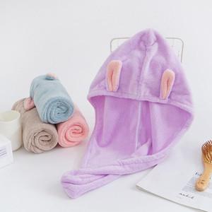 دش قبعات لطيف طويل الأذن غطاء الشعر الجاف حمام منشفة قوية استيعاب تجفيف المخملية المناشف قبعة خاصة جدا