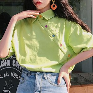 Loose Blouse Simple Letter Print Shirt Womens Cotton Harajuku Retro Pullover Women's Short Sleeve Top Black Blouses & Shirts