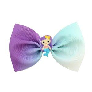 24pcs Girls 4.5 pulgadas Unicornio Sirena Bows Bows Play Clip Kids Princess Peluquerías Harrettes Accesorios para el cabello Hermosa Huilin 326 U2