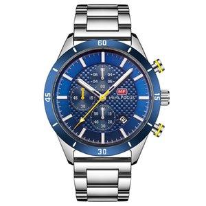 Наручные часы Relogio Masculino 2021 Часы Мужчины Хронограф Спортивный Водонепроницаемый Полный сталь Кварцевые Мужские Часы Вах