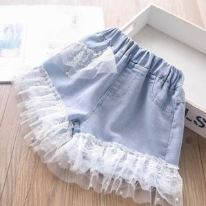 Fashion kids denim shorts summer girls beaded lace ruffle short jeans children elastic waist casual cowboy pants A6507