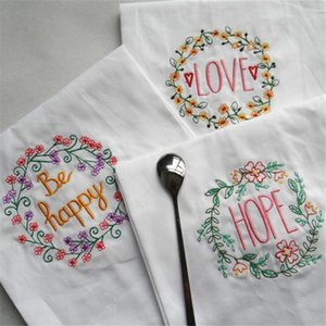 Table Napkin 4   PCS Cotton White Embroidered Wine Glass No Hair Loss, Good Water Absorption!
