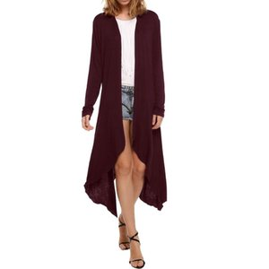 Women's Trench Coats Casual Women Cardigan Eye Catching Irregular Vacation Gift Open Front Long Sleeve Splice Fashion Solid Knitted Dating A