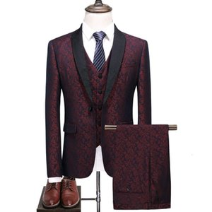 Mens Fashion Suits Blazers Vests Pants 3 Piece Sets Printing Slim Fit Suit Formal Wedding Business Male Tuxedos Groom Prom Party Suits