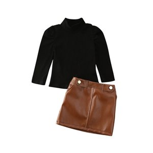 2021 Newest Hot Toddler Baby Girls Kids Turtleneck Long Puff Sleeve Sweater Tops + Leather Pencil Skirt 2PCS Outfit Clothes Set 892 V2
