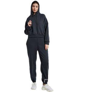 2021 women's long sleeve Sweatshirt Pullover Hoodie set sweatpants pocket design