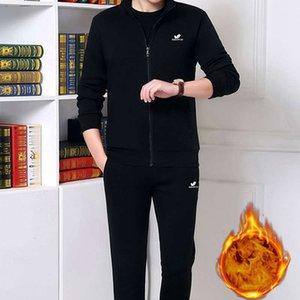 Sportswear dos homens do inverno do inverno dois pedaços pai pelúcia camisola de lazer esportes primavera outono terno espessado meio envelhecido e idosos