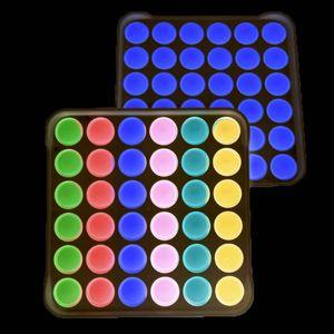 US STOCK PARTÔNE Favoriser les cadeaux carrés ronds lumineux silicone décompression jouet jaune bleu rose pour les enfants adultes 48g