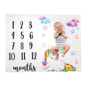 Baby Milestone Blanket Eco-friendly 70X102cm Flannel Blankets Travel Home Air Conditioning Printed Blanket 7 Styles zyy632