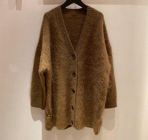 autumn and winter Sweden 2020 new AC family loose V-neck medium length cardigan coat V-neck mohair sweater women's sweater